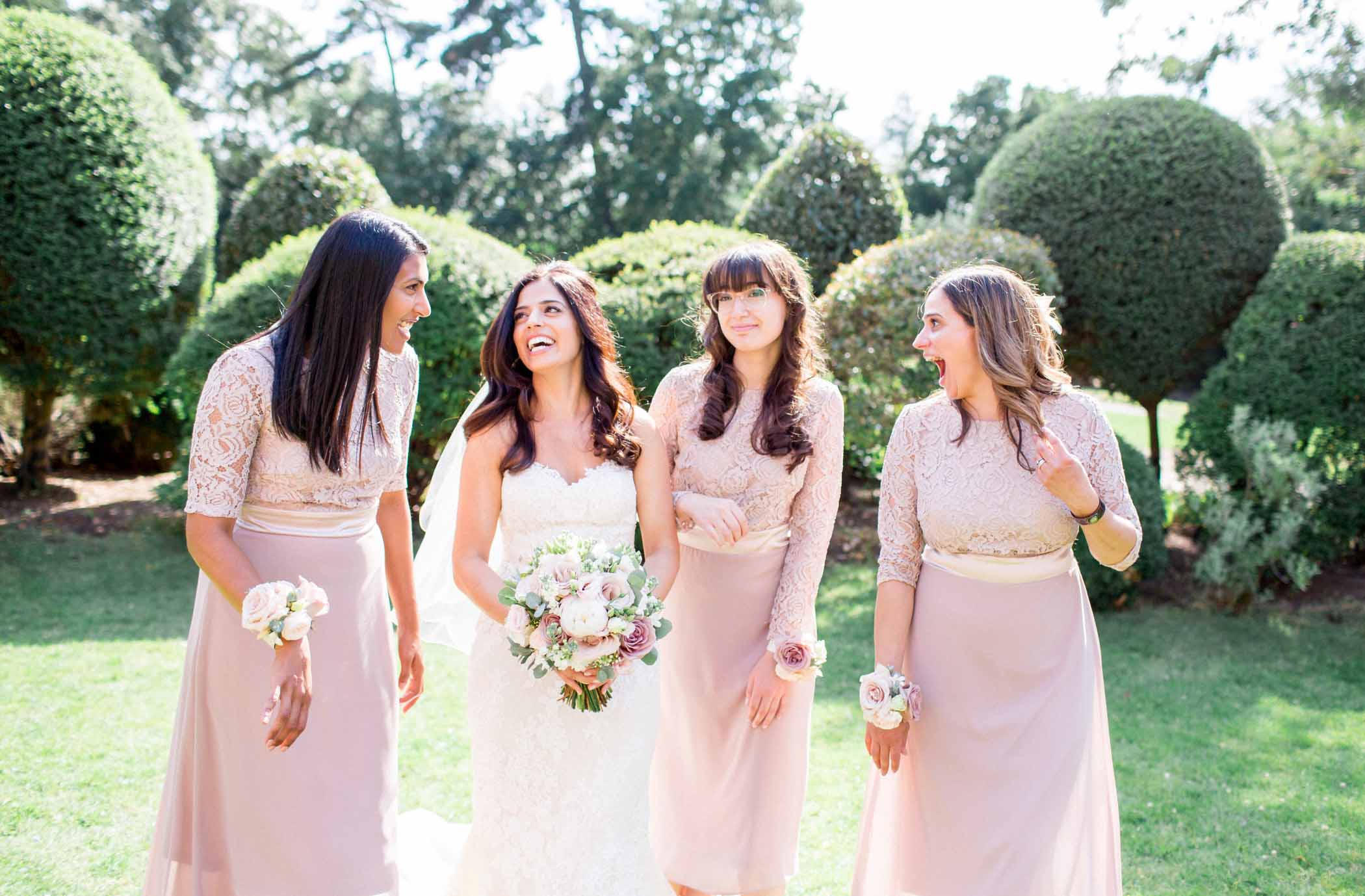 Surrey Wedding Photographer | Bride with Three Bridesmaids | Philippa Sian Photography