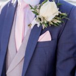 Destination Wedding Photographer Menorca Wedding Blue Grey Pink Suit