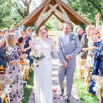 Suzanne Neville Wedding Dress Lilac & Grey table linen Summer Wedding Millbridge Court Surrey