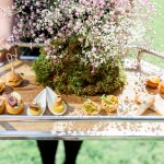 Calm Kitchen Canapes Lilac & Grey table linen Summer Wedding Millbridge Court Surrey