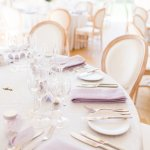 Lois Chairs Lilac & Grey table linen Summer Wedding Millbridge Court Surrey