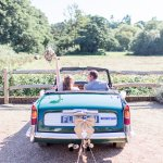 Charlotte Mills Becky Rose Trim Suzanne Neville Dress Triumph Wedding Car Lilac & Grey Summer Wedding Millbridge Court Surrey