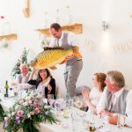 Giant Fish Lilac & Grey Summer Wedding Millbridge Court Surrey