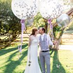 Giant balloons Lilac & Grey Summer Wedding Millbridge Court Surrey