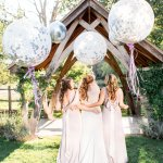 TFNC Lilac Bridesmaids and Giant balloons Lilac & Grey Summer Wedding Millbridge Court Surrey