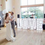 LOVE light up giant letters Lilac & Grey Summer Wedding Millbridge Court Surrey