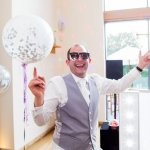 Giant bubblegum balloons Dancing Guests Lilac & Grey Summer Wedding Millbridge Court Surrey
